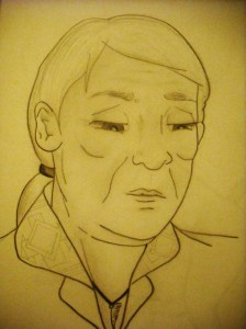 A sketch I did of an aboriginal woman whose tribe was not recognized in the official apology