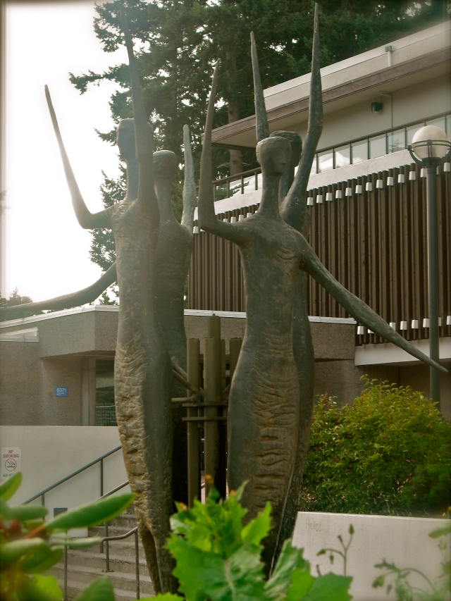 The statue outside of the Thea Koerner Graduate Student Centre
