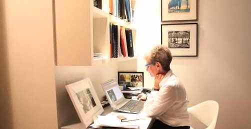 Phyllis Yaffe at her desk. Screen capture from the Globe and Mail.